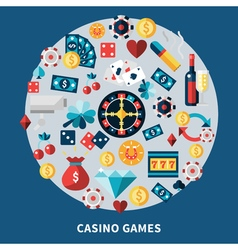 Casino Games Icons Round Composition vector