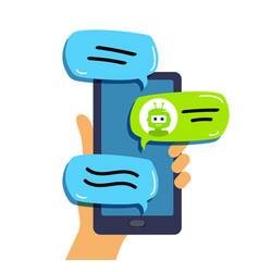 Chat bot concept technical support hand vector