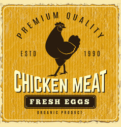 chicken poster fresh farm menu logo restaurant vector image