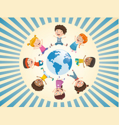 children playing around world vector image