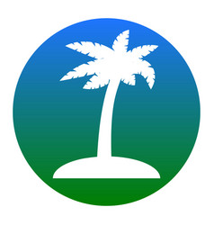 coconut palm tree sign white icon in vector image