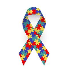 Colorful satin puzzle ribbon as symbol autism vector