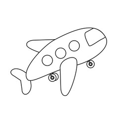 Contour toy airplane fly icon vector