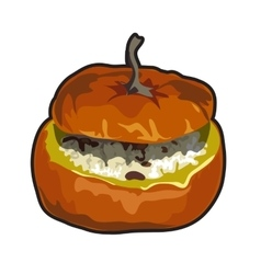 Cooked dish of pumpkin icon food for design vector image