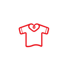 Creative unique heart neck tshirt design logo vector