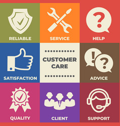 customer care concept with icons and signs vector image