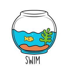 Cute fish hand-drawn cartoon vector