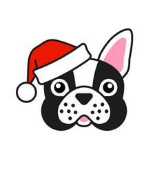 Cute french bulldog in santa claus hat vector