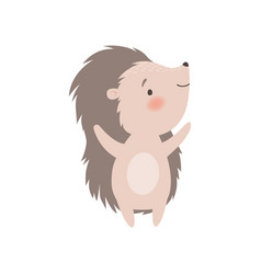 Cute hedgehog standing on two legs adorable vector