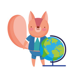 Cute squirrel with globe map class vector