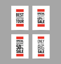 Different sale flyers posters with big discount vector