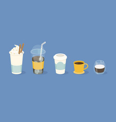 different types coffee in paper and glass cup vector image