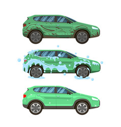 Dirty car wash messy city traffic automobile vector
