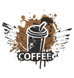 Disposable paper coffee cup with wings and straw vector