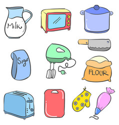 Doodle of kitchen accessories style vector