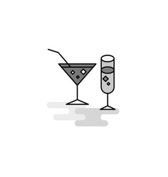 drinks web icon flat line filled gray icon vector image