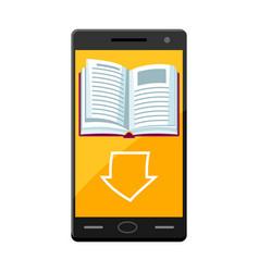 E-book concept smart phone and downloading book vector