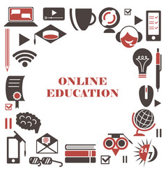 E-learning icon set isolated online education vector