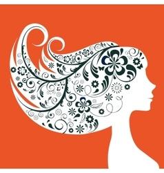 Elegant woman floral silhouette vector image