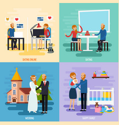 family relationship character icon set vector image
