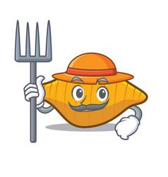 Farmer conchiglie pasta character cartoon vector