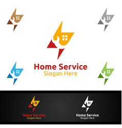 fast real estate and fix home repair services logo vector image
