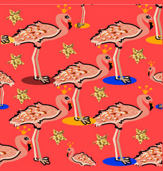 flamingo cute seamless pattern with prince or vector image