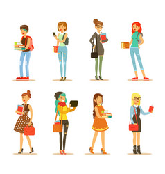 Flat set of young girls with books and bags vector