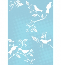 Floral background birds vector