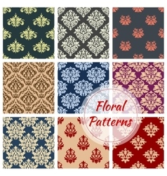 Floral pattern set flowery damask ornament vector