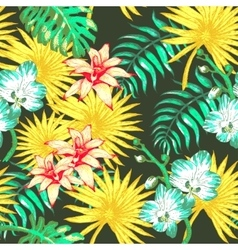 Flowers and Palm vector image