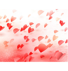 Flying hearts romantic background for love vector
