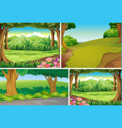 four different nature scene forest cartoon vector image