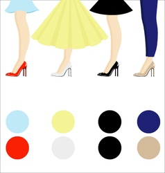 Four female pair legs with shoes assortment vector image