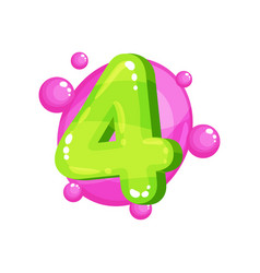 four geen glossy bright number kids font vector image