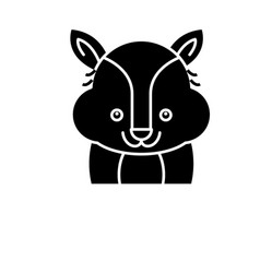 funny raccoon black icon sign on isolated vector image