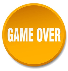 game over orange round flat isolated push button vector image