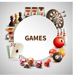 games realistic round frame vector image