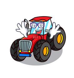 geek tractor character cartoon style vector image