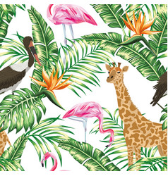 giraffe stork pink flamingo seamless tropical vector image
