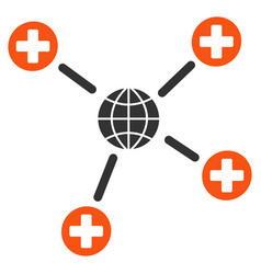 global medical links flat icon vector image
