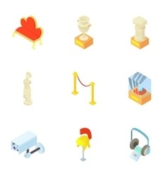Going to museum icons set cartoon style vector image