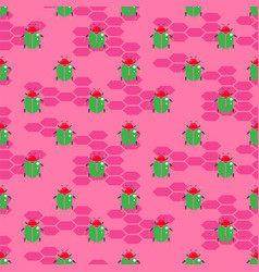 Green beetle on bright pink seamless vector
