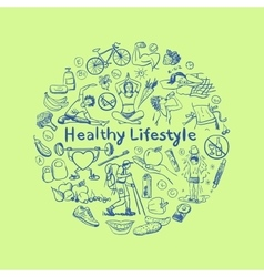 Hand drawn healthy lifestyle concept vector
