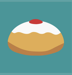 Hanukkah holiday sufganiyah flat design icon vector