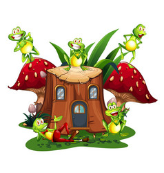 Happy frogs on wooden log house vector