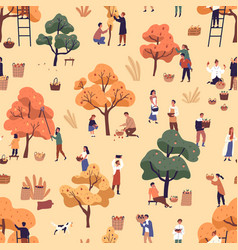 happy people picking fruits seamless pattern vector image