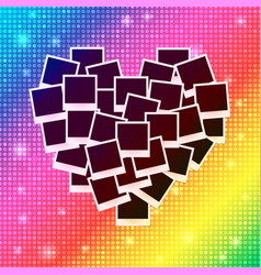 Heart concept made with empty photos on shining vector