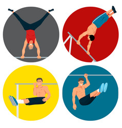 horizontal bar chin-up strong athlete man gym vector image