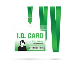 Id card woman green vector